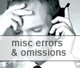 Miscellaneous Errors and Omissions